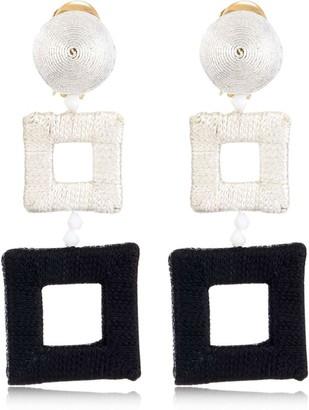 Oscar de la Renta Wrapped Double Square Earrings