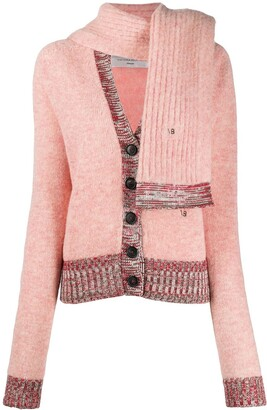 Victoria Beckham Detachable-Scarf V-Neck Cardigan