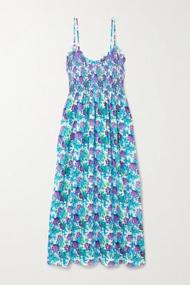 Loretta Caponi - Bianca Ruffled Smocked Floral-print Cotton-voile Midi Dress - Blue