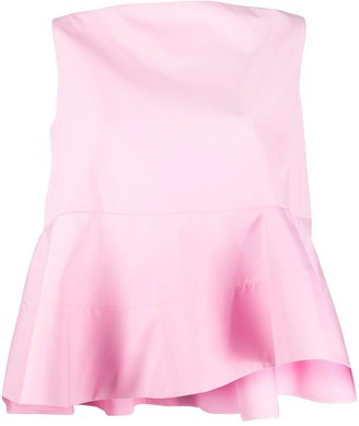 Nina Ricci Pleated Peplum Tank Top