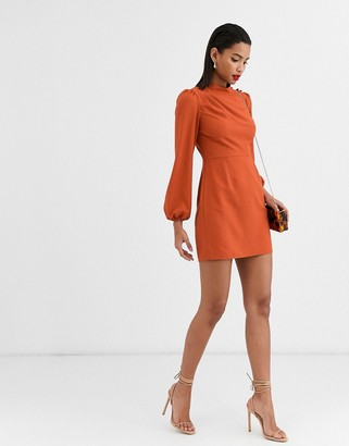ASOS DESIGN high neck mini dress with long sleeves