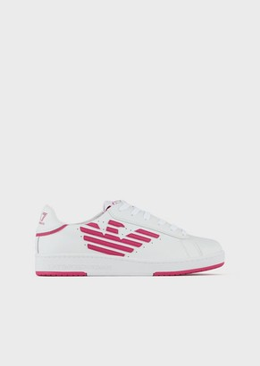 Ea7 Leather Sneakers With Printed Logo