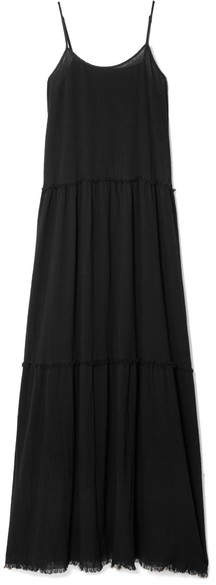 ATM Anthony Thomas Melillo Tiered Crinkled Cotton-gauze Maxi Dress - Black