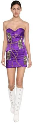 Giuseppe di Morabito Bead Embellished Satin Mini Dress