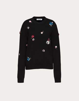 Valentino Embroidered Cashmere And Wool Jumper Women Black Cashmere 100% L