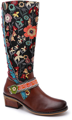 Iliyah Women's Western Boots brown - Brown & Black Floral Lace-Back Leather Boot - Women