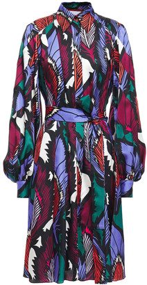 Carolina Herrera Belted Printed Satin-jacquard Shirt Dress
