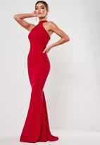 Missguided Red High Neck Maxi Dress