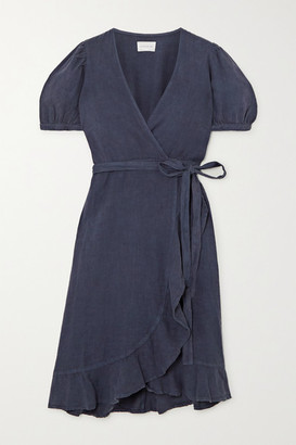 HONORINE Charlotte Ruffled Linen Wrap Dress - Storm blue