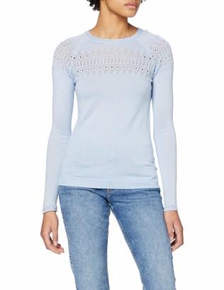 Dorothy Perkins Women's Pale Blue Plain Pointelle Yoke Jumper Sweater 8
