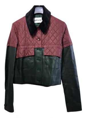 Carven Burgundy Leather Jackets