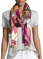 Tolani Florina Floral-Print Silk Scarf, Ivory/Multi