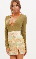 PrettyLittleThing Olive Green Shimmer Slinky Plunge Longsleeve Bodysuit
