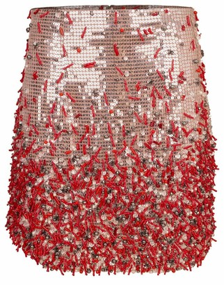 Blumarine Sequin Coral Mini Skirt