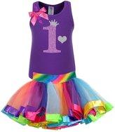 Bubblegum Divas Baby Girls' 1st Birthday Rainbow Tutu Outfit