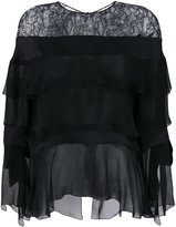 Alberta Ferretti lace trim layered top - women - Silk/Polyamide/Viscose - 40