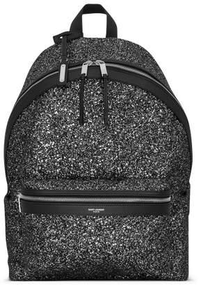 Saint Laurent City Backpack Glitter Gray