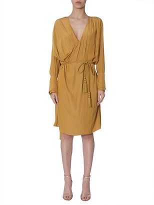 Lanvin Long-Sleeved Wrap Dress