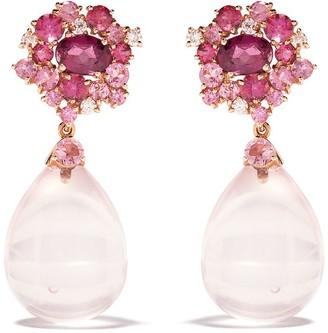 Brumani 18kt rose gold Baoba Bubbles diamond, topaz and quartz drop earrings