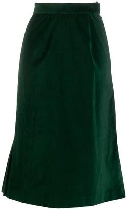 Batsheva Velvet Flared Midi Skirt