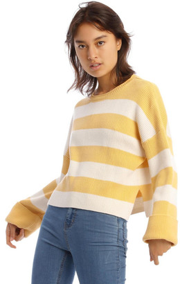 Miss Shop Striped Roll Cuff Jumper