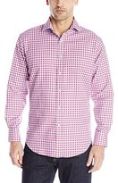 Thomas Dean Men's 1 Button Spread Collar Gingham with Fil Coupe