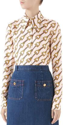 Gucci Stirrup Rain Silk Twill Shirt