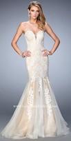 La Femme Plunging Lace Applique Mermaid Prom Dress