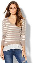 New York & Co. V-Neck Twofer Sweater - Stripe