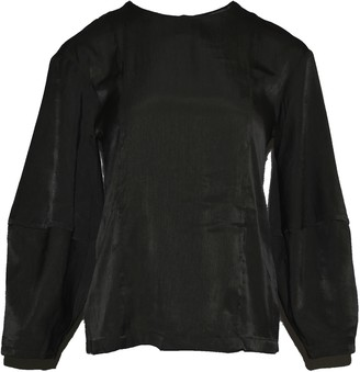 Salient Label Kimble Lantern Sleeve Long Sleeves Blouse In Anthracite