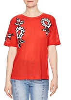 Sandro Pop Embroidered Mesh Top