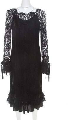 Dolce & Gabbana Black Lace Ruffle Sleeve and Hem Detail Midi Dress M