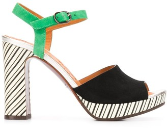 Chie Mihara Cassette striped heel sandals