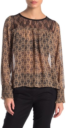 Pleione Lace Yoke Patterned Blouse (Petite)