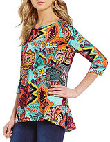 Westbound 3/4 Sleeve Hi-Low Hem Tunic