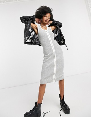 AllSaints alicia stripe midi dress with zip front