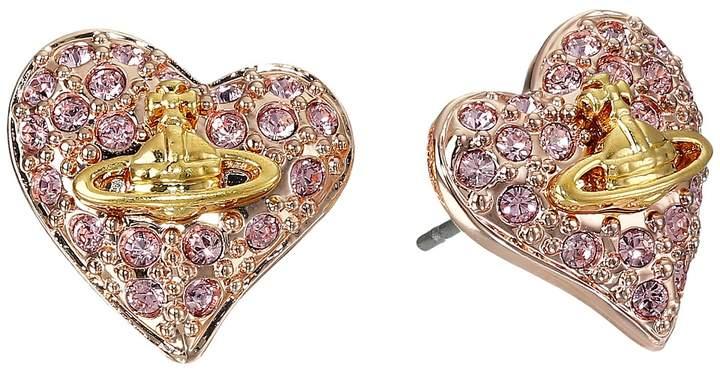 Vivienne Westwood Tiny Diamante Heart Studs Earring