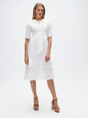 Tommy Hilfiger Cotton Lace Detail Wrap Dress