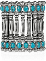 Silver-plated turquoise cuff