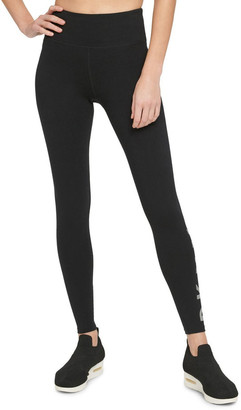 DKNY High-Waist Full Length Striped Logo Legging