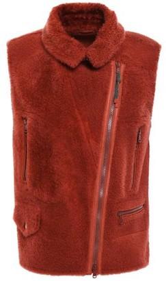 Brunello Cucinelli Leather-trimmed Bead-embellished Shearling Vest