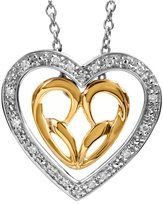 """Jessica Simpson Sterling Silver and 10K Yellow Gold """"Wear it 3 ways"""" Heart Pendant"""
