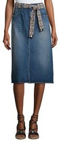 Current/Elliott The Slit Belted Denim Midi Skirt, Rincon