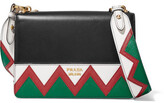 Prada Zig Zag Leather Shoulder Bag - Black