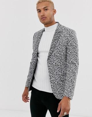 ASOS DESIGN skinny blazer in white leopard print