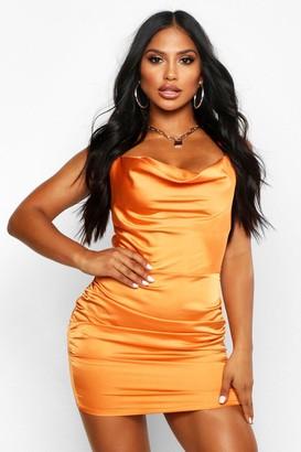 boohoo Florence Satin Cowl Neck Bodycon Dress