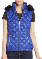 Saks Fifth Avenue Faux Fur-Trimmed Quilted Down Vest