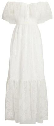 Self-Portrait Bridal Off-The-Shoulder Lace Maxi Dress