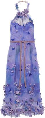 Marchesa Notte Appliqued Printed Tulle Halterneck Midi Dress