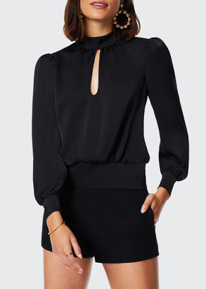 Ramy Brook Angela Keyhole-Front Mock Neck Top